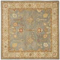 Safavieh Handmade Oushak Slate Blue/ Ivory Wool Rug (8' Square) - 8' Square