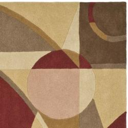 Safavieh Handmade Rodeo Drive Modern Abstract Beige/ Multi Wool Rug (8' Square) - Thumbnail 1