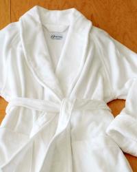 Unisex Cotton Velour Shawl Collar Spa Bath Robe - Thumbnail 2