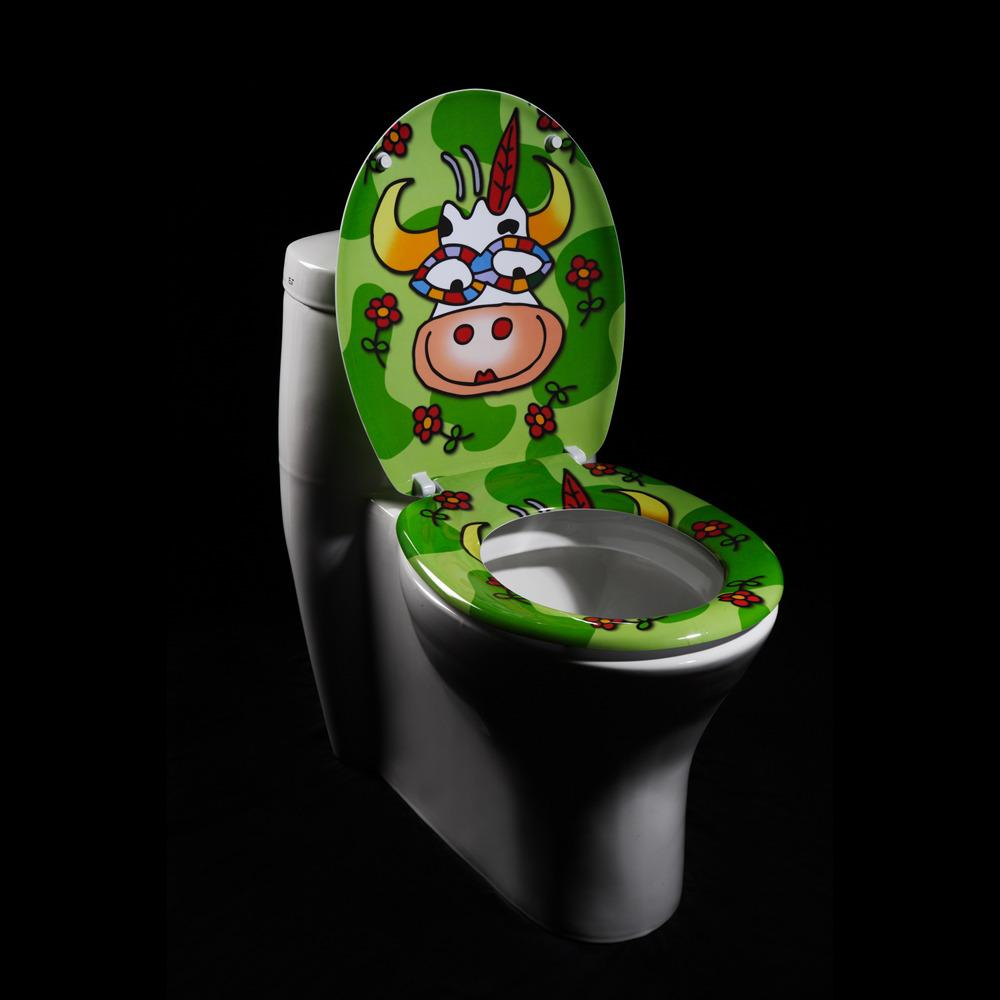Cartoon Cow Designer Melamine Toilet Seat Cover Free