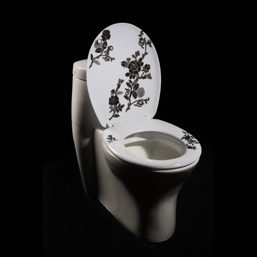 Black White Floral Designer Melamine Toilet Seat Cover Free Shipping On Or