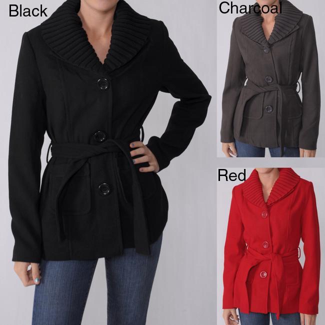 Adi Designs Juniors Shawl Collar Belted Coat
