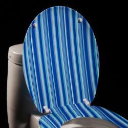 Blue Cabana Stripe Designer Melamine Toilet Seat Cover - Thumbnail 1