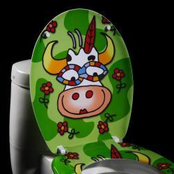 Cartoon Cow Designer Melamine Toilet Seat Cover