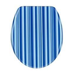 Blue Cabana Stripe Designer Melamine Toilet Seat Cover - Thumbnail 2