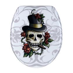Skull and Roses Designer Melamine Toilet Seat Cover