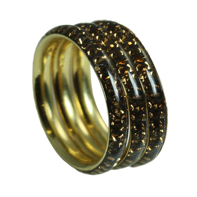 Gioelli Goldplated Sterling Silver Stackable Brown Crystal Rings (Set of 3)
