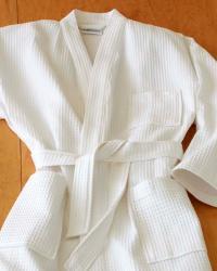 Unisex Cotton Kimono Waffle Spa Bath Robe - Thumbnail 1