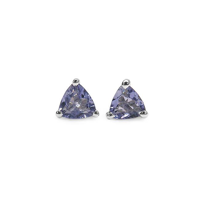 Malaika Sterling Silver Trillion Tanzanite Stud Earrings
