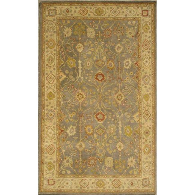Safavieh Handmade Oushak Slate Blue/ Ivory Wool Rug (4' x 6')