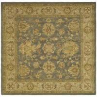 Safavieh Handmade Antiquities Jewel Grey Blue/ Beige Wool Rug - 8' x 8' Square