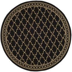 Safavieh Indoor/ Outdoor Black/ Sand Rug (6'7 Round)