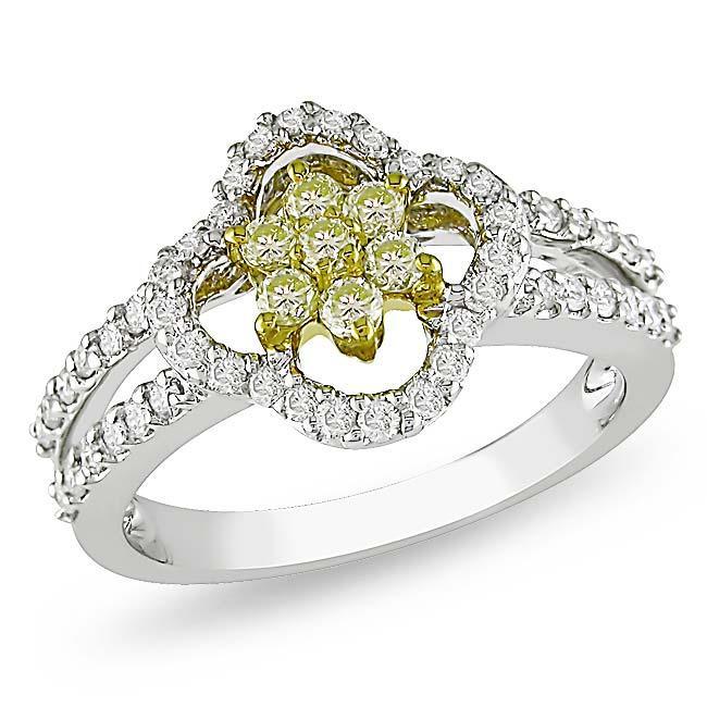 Miadora 14k White Gold 3/4ct TDW White and Yellow Diamond Ring (G-H, I1-I2)
