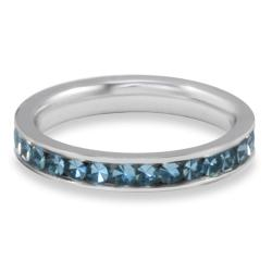 West Coast Jewelry Stainless Steel Polished Teal Cubic Zirconia Band Ring - Thumbnail 1