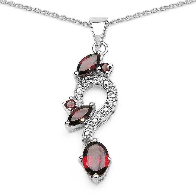 Malaika Sterling Silver Garnet and Cubic Zirconia Jewelry Set