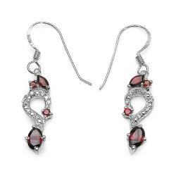 Malaika Sterling Silver Garnet and Cubic Zirconia Jewelry Set - Thumbnail 1