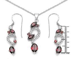 Malaika Sterling Silver Garnet and Cubic Zirconia Jewelry Set - Thumbnail 2