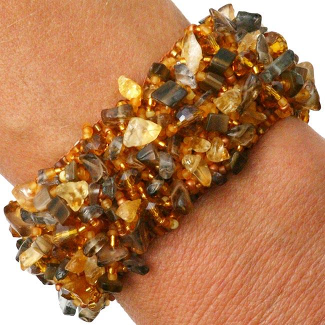 Zafrina Bella Bronze Eye/ Glass/ Crystal Bracelet (Guatemala)
