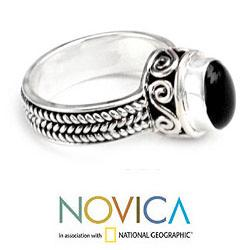 Sterling Silver 'Snail Mail' Onyx Ring (Indonesia) - Thumbnail 1