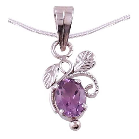 Handmade Sterling Silver 'Mauve Blushing Leaves' Amethyst Jewelry Set (India)