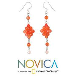 Handmade Sterling Silver 'Enchanted Bloom' Carnelian Earrings (Thailand)