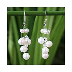 Handmade Sterling Silver 'Sugar Candy' Pearl Earrings (3.5-9.5 mm) (Thailand)
