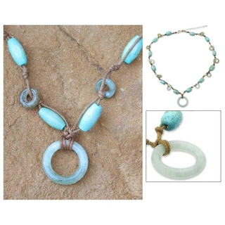 Handmade 'Endless Harmony' Jade Pendant Necklace (Thailand)