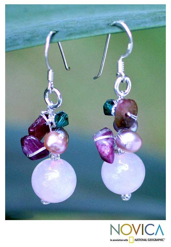 Silver 'Romantic' Pearl Rose Quartz Earrings (4 mm) (Thailand)