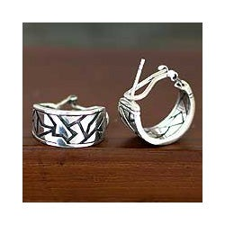 Handmade Sterling Silver 'Balinese Puzzles' Earrings (Indonesia)