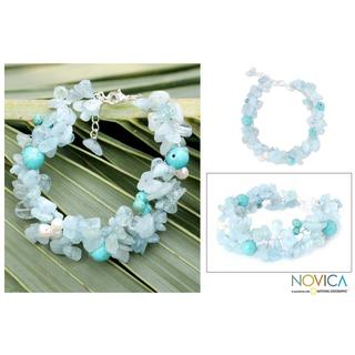 Handmade Multi-gemstone 'Sensation' Pearl Bracelet (8 mm) (Thailand)