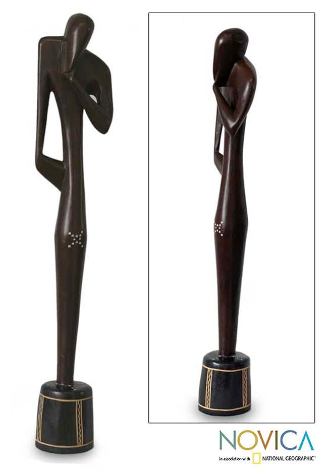 Sese Wood 'Thinking Shadow' Sculpture (Ghana)