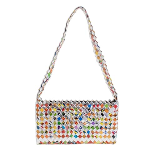 Handmade Recycled Metalized Wrapper Eco Cheer Medium Shoulder Bag (Guatemala)