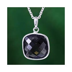 Sterling Silver 'India Mystery' Smoky Quartz Necklace (India)