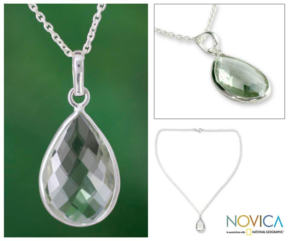 Sterling Silver 'Green Mystique' Prasiolite Necklace (India)