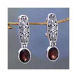 Handmade Sterling Silver 'Pura Dalem' Garnet Earrings (Indonesia)