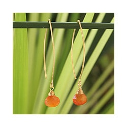 Gold Overlay Carnelian 'Breath of Love' Earrings (Thailand)