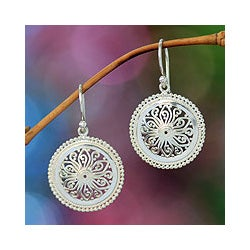 Paradise Bloom Handmade Balinese Vintage Women's Fashion Accessory Sterling Silver Floral Dangle Jewelry Earrings (Indonesia)