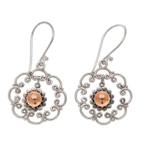 """Handmade Delightful Denpasar Gold Overlay Earrings (Indonesia) - 0.8"""" x 1.5"""""""