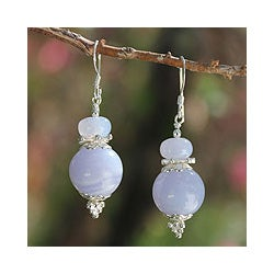 Sterling Silver 'Happy Peace' Blue Lace Agate Earrings (Thailand)