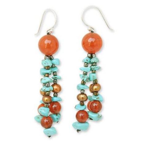 Handmade Carnelian 'Promise from the Sea' Pearl Earrings (4-4.5 mm) (Thailand)