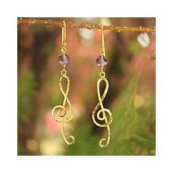 Gold Overlay 'Thai Melody' Amethyst Earrings (Thailand)