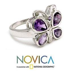 Sterling Silver 'Lilac Butterfly' Amethyst Cocktail Ring (India) - Thumbnail 1