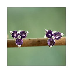 Sterling Silver 'Charming Trio' Amethyst Earrings (India)