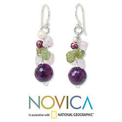 Handmade Sterling Silver 'Sing' Multi-gemstone Pearl Earrings (4 mm) (Thailand) - Thumbnail 1