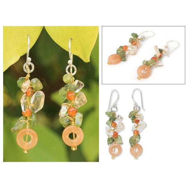 Handmade Sterling Silver 'New Love' Multi-gemstone Earrings (Thailand)