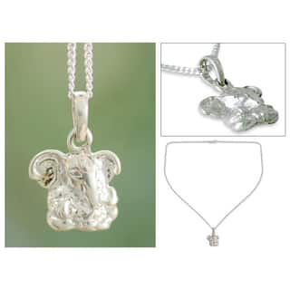 Handmade Sterling Silver 'Baby Ganesha' Necklace (India)|https://ak1.ostkcdn.com/images/products/7005212/P14513351.jpg?impolicy=medium