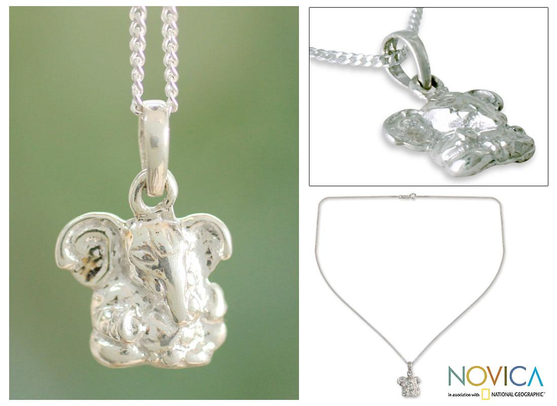 Sterling Silver 'Baby Ganesha' Necklace (India)