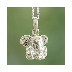 Handmade Sterling Silver 'Baby Ganesha' Necklace (India)
