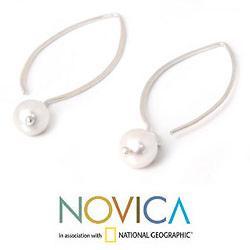 Handmade Sterling Silver 'Precious White' Pearl Earrings (6.5-7 mm) (Thailand)