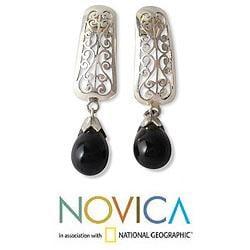Handmade Sterling Silver 'Mughal Melody' Onyx Earrings (India) - Thumbnail 1